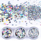 Holographic Nail Sequins Silver Laser Hexagon 1 2 3mm Glitter Paillette Flakes