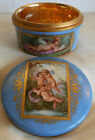 C.1885 MOST BEAUTIFUL GILT PORCELAIN  BOX HAND PAINTED WITH CHERUBS / ANGELS