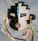 CLAY ART MASK.. BLACK / WHITE.. HAND PAINTED..MULTI-COLOR...EXTREMELY RARE..1989