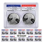 Lot of 10 - 2017 W/S 1 oz Proof Silver American Eagle 2-Coin Set PCGS PF 70 DCAM