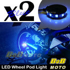 2x Blue 360 Degree Cycle Rim Wheel SMD LED Pod Light For Honda Motorcycles