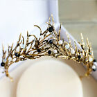 Vintage Baroque Wedding Bridal Crystal Pearl Gold Crown Tiara Headband Headpiece