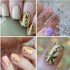 Embossed 3D Nail Art Stickers Decals Gold Flower Grid Manicure Decoration DIY