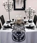 Goth Grim Reaper Skull  Bats Black Lace Halloween Decor Table Runner 72x 14