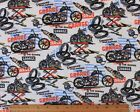 SNUGGLE FLANNEL MOTORCYCLE GARAGE on WHITE  100 Cotton Fabric NEW BTY