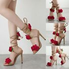 New Womens Fashion Summer High Heels Lace Up Rose Flower Open Toe Sandals Shoes