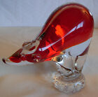 VINTAGE MURANO GLASS RED BEAR FIGURINE HAND BLOWN WITH LABEL
