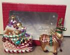 Fitz and Floyd CANDY LANE Reindeer & Sleigh Ornaments ~ Mint ~ 19/1118