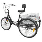 Black 3 Wheel 6 Speed 24 Adult Tricycle Bike Bicycle Trike Cruise W Basket