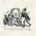 1908 engraving CHILDREN PLAYING W GRANDPA Charles Dickens Victorian England