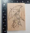 Peddlers Pack Stampworks Girl With Umbrella Rubber Stamp