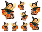 Vintage Image Retro Halloween Witch Girl With And Cat Waterslide Decals HAL100