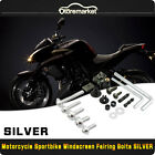 223PCS Motorcycle Sportbike Fairing Body Bolts Kit Fastener Clips Screws Silver