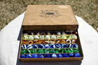Vintage Akro Agate Box 100 Assorted Stripe Onyx Marbles Original Paperwork 1930