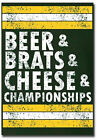 "Green Bay Packers Beer & Brats & Cheese & Championship Fridge Magnet 2.5"" x 3.5"""