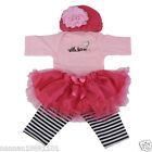 Lovely 20 22 Reborn Baby Girl Doll Pink Clothes Kits With Headress Handmade 4pc