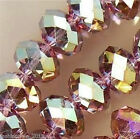 300PC 4x6mm Purple Multicolor Faceted Crystal Faceted Gems Loose Beads