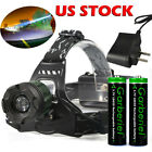 10000LM Tactical XM L T6 LED Headlamp Zoomable HeadLight Lamp + 18650 + Charger