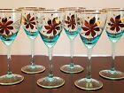 Aqua Blue Wine Goblets From Romania W/ Hand painted Gold Flowers (6) Nick