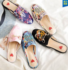 Womens Floral Embroidery Slipper Sandals Shoes Leather Flats Flip flops US3 11