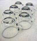 7 Vintage Modern Design Smooth Sleek  Clear Glass Punch or Tea Cups Matching Set