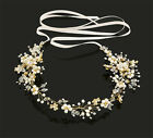 Vintage Wedding Bridal Crystal Headband Pearl Hair Band Accessories Gold Tiara S