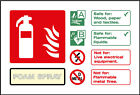 Fire Extinguisher Foam Spray Signs, Plastic & Self Adheive Vinyl Available