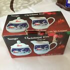 NIB SANGO CHRISTMAS EVE CREAMER & SUGAR BOWL W LID MADE IN KOREA JOAN LUNTZ