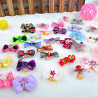 100PCS 3D Small Puppy Pet Dog Rhinestone Hair Bow Rubber Bands Grooming