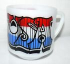 FIRE KING 8 OZ USA COFFEE MUG RED WHITE BLUE HEAT PROOF SMALL CUP