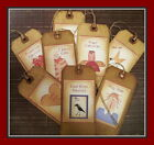 PRIMITIVE CATS, CROWS, RAGDOLLS - HANG TAGS - SET OF EIGHT - VERY VINTAGE STYLE