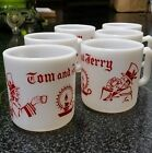 SET OF 6 VTG HAZEL ATLAS TOM AND JERRY EGG NOG MUGS, EXC COND $$!
