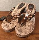 385 Fifth Cork Wedge Heel Platform Beaded Thong Sandal SZ US 8M