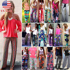 Boho Women Floral Palazzo Pants Wide Leg Beach Baggy Loose Culotte Long Trousers