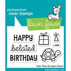 Lawn Fawn Photo polymer Clear Stamp Year Two Happy Belated Birthday Turtle