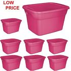 Plastic Storage Container Stackable Case 18 Gallon Tote Box Lid Bin Set of 8 Red