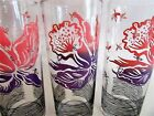3 Vintage Libbey Floral Print Ice Tea Collins Glasses Tumbler Peach purple black