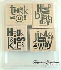 ALPHABET SOUP Rubber Stamp Set of 4 STAMPIN UP Used Cardmaking Birthday Holidays