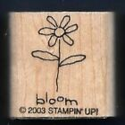 DAISY BLOOM FLOWER Botanical Card small Stampin Up 2003 wood RUBBER STAMP