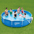 Summer Escapes 12 x 30 Round Metal Frame Above Ground Swimming Pool with Skimm