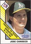 1993 Kenner Starting Lineup cards Jose Canseco Oakland Athletics/Texas Rangers