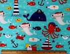 SNUGGLE FLANNEL PIRATE SEA  OCEAN ANIMALS on AQUA 100 Cotton Fabric NEW BTY