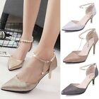 Womens Pointed Toe Leather Beaded Strap Stiletto High Heels Pumps Wedding Shoes