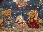 Boyds Bears Friends Tapestry Throw Blanket Afghan PEACE ON EARTH Nativity