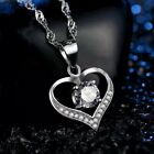 Fashion 925 Sterling Silver White Crystal Heart Pendant Necklace Womens Jewelry
