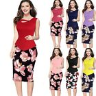 Womens Peplum Wear To Work Office Career Casual Party Bodycon Slim Pencil Dress