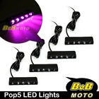 Universal Pop5 TTL Pink 12V LED Side Fairing Light x4 For Aprilia Motorcycles