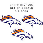 DENVER BRONCOS 7in Decals 3 pieces SUPER BOWL 50 Vinyl Glossy Stickers