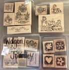 Large Lot of 20 Stampin Up wood mounted Rubber Stamps Wagon Journey Garden more