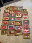 Vintage Antique Country Flags Flannel Quilting Squares Lot of 48 Squares